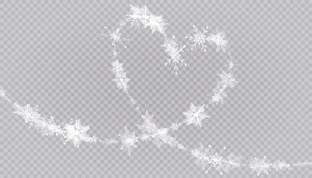 Heart shaped snowflakes in a flat style in continuous drawing lines. Trace of white dust. Magic abstract background isolated on on transparent background. Miracle and magic. Vector illustration flat design