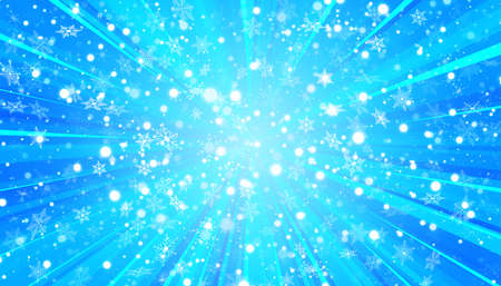 White snow flies and sun on a blue background. Christmas snowflakes. Winter blizzard background illustration.