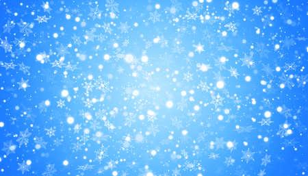White snow flies on a blue background. Christmas snowflakes. Winter blizzard background illustration.