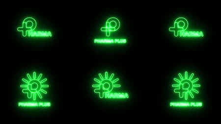 Set of Neon green sign P logo banner background. P with plus and sun logo. Medical logo. FONT Jellee (OFL Apache LICENSES).