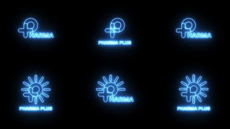 Set of Neon blue sign P logo banner background. P with plus and sun logo. Medical logo. FONT Jellee (OFL Apache LICENSES) 版權商用圖片