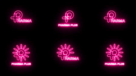 Set of Neon pink sign P logo banner background. P with plus and sun logo. Medical logo. FONT Jellee (OFL Apache LICENSES). 版權商用圖片