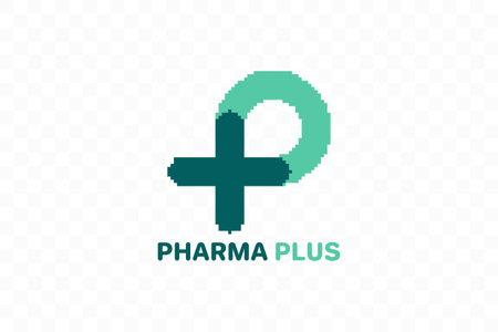 Pixel art P logo, P with plus logo. Medical logo