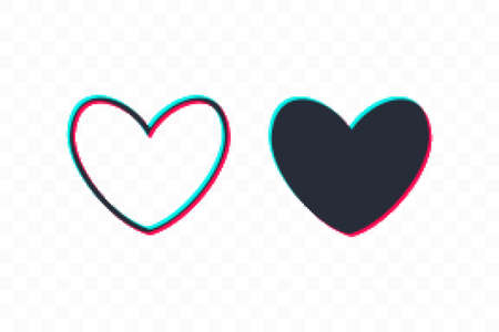 Pixelated Heart line icon, sign, symbol, logo. Tricolor sign