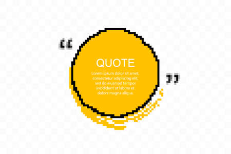 Pixelated Quote box icon. Texting quote boxes. Blank Grunge brush background. Vector illustration