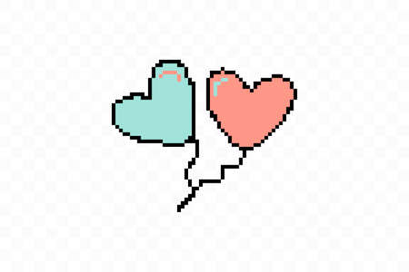 Simple flat style icon of beautiful two Pixelated balloons in the form of hearts for the feast of love on Valentine s Day or March 8th. illustration. 向量圖像