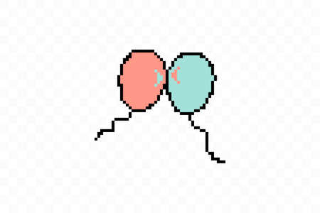 Simple flat style icon of beautiful two Pixelated balloons for the feast of love on Valentines Day or March 8th. Vector illustration.