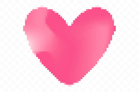 Pixel art heart isolated on transparent background