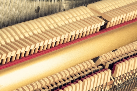 classical mechanics: Vintage  piano inside - strings and hammers