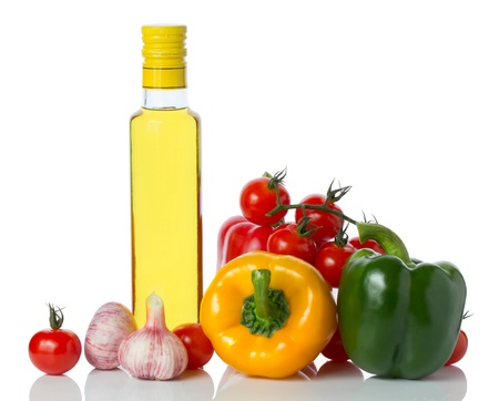 bolter: fresh vegetables and olive oil isolated on white Stock Photo