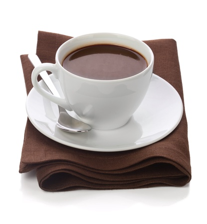 brawn: Hot chocolate in white cup on brawn table-napkin