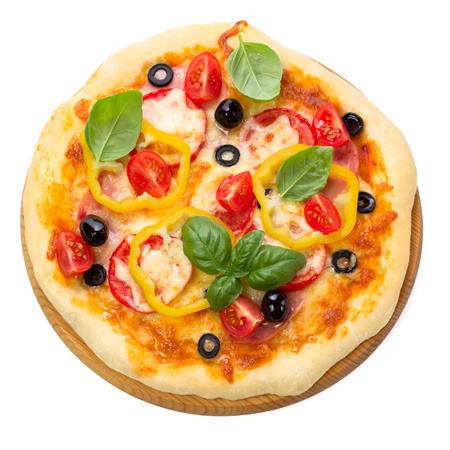 Pizza with ham, tomato and olives isolated on white background. Top view.
