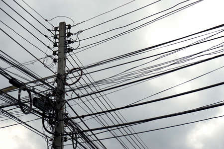 disarrangement: the disarrangement of electric wire with the cloudy