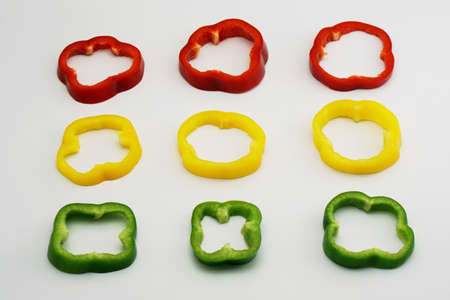 slightly: isolated set of slightly cut sweet pepper