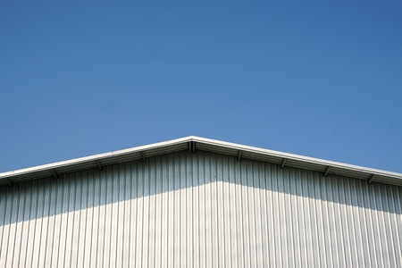 roof metal sheet with the blue sky Stock Photo