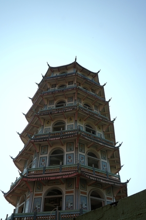 Chinese tower style at the Buddha temple area photo