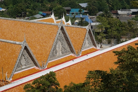 buddhist temple roof: under construction roof of Thai Buddhist temple Stock Photo