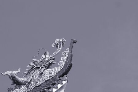 dragon fish: dragon fish sculpture on roof top in gray