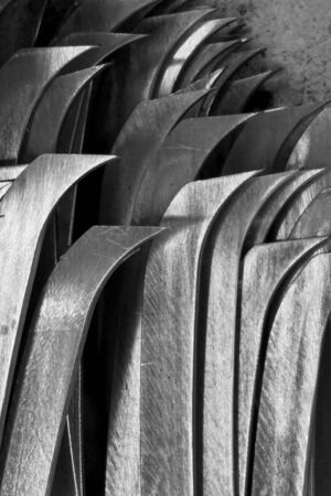 burnish: abstract mix of metal sharp in the factory Stock Photo