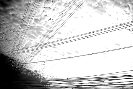 black and white of High voltage cables photo