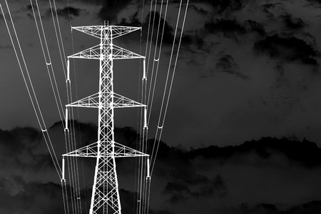 black and white of High voltage transmission towers photo