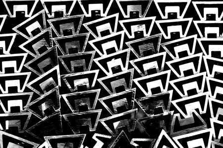 burnish: abstract group of metal profile shape in mono color