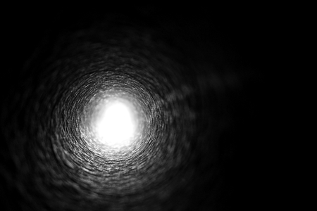 abstract of light at the end tunnel Stock Photo