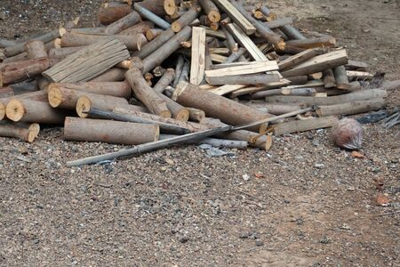 stack of firewood: closeup stack firewood use in the countryside Stock Photo