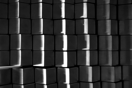 white metal: abstract of black and white metal block