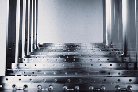 treadplate: abstract black and white of metal steps