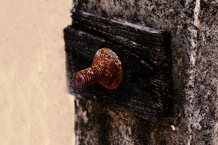 electricity pole: abstract of rusty metal nut stick on the electricity pole