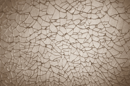 safty: abstract crack of tempered glass on the stainless steel plate Stock Photo