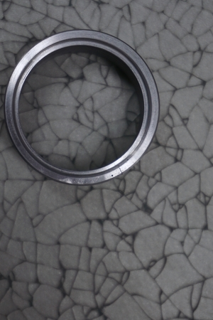 tempered: abstract crack of tempered glass with the circle stainless steel