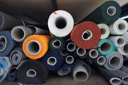 fabric roll: abstract stack of fabric roll in the factory