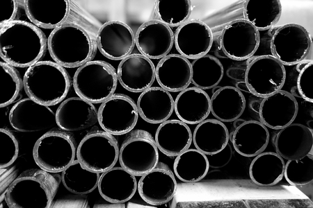 black metal tubing abstract stack of round metal tube for background used stock photo