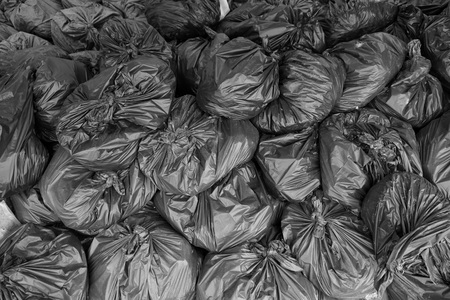 dumping: abstract group of dumping garbage bags in the factory Stock Photo