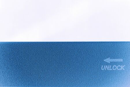 key words art: concept of unlock word print on the metal