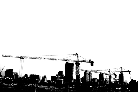 construction work: abstract of black and white construction work in the city