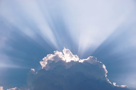 abstract of sunburst in cloud for background used Stock Photo