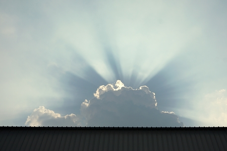 spiritual energy: abstract of sunburst in cloud for background used Stock Photo