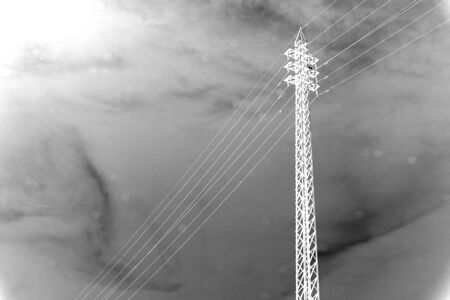 isolator: black and white of High voltage transmission towers