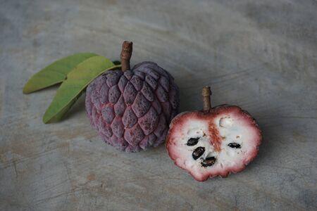 sweetsop: Thai native sweet fruit in purple custard apple Stock Photo