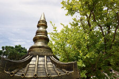 steeple: thai roof top steeple in the garden Stock Photo