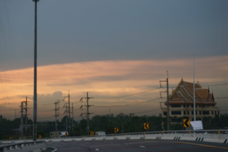 time drive: blurred drive at evening time in Thailand Stock Photo