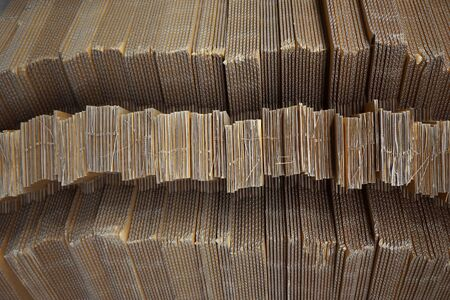 close up stack of corrugated paperboard texture for background used