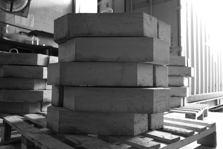 cornerstone: stack of concrete block in the warehouse