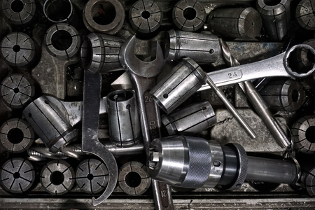 spare part: close up milling spare part work tool in factory