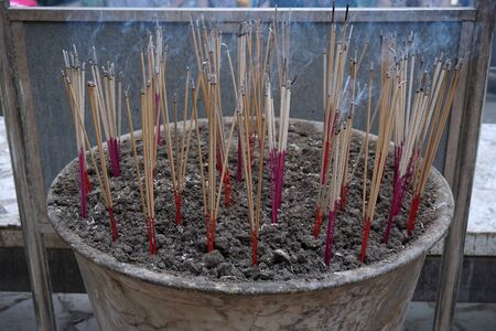 wood burner: group of joss stick in the temple