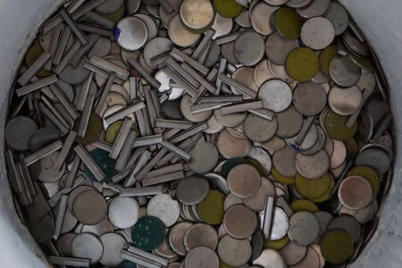 to scrape: abstract of stainless scrape look like coin shape