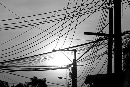 chaotic: abstract of chaotic electricity wire in Thailand Stock Photo